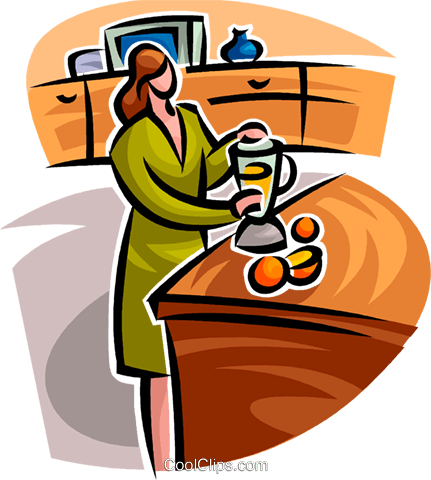woman pouring a glass of juice Royalty Free Vector Clip Art illustration vc062775