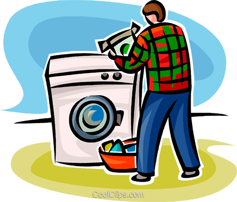 person doing laundry Royalty Free Vector Clip Art illustration vc062777
