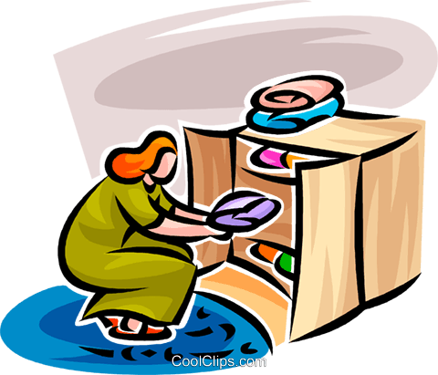 woman putting away laundry Royalty Free Vector Clip Art illustration vc062789