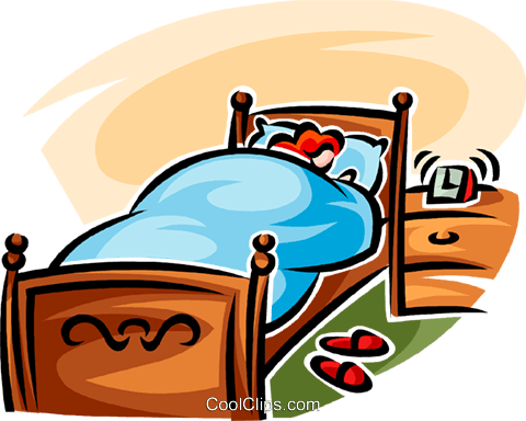 woman sleeping in a bed Royalty Free Vector Clip Art illustration vc062796