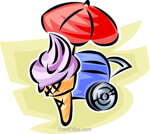 ice cream cone from a vendor Royalty Free Vector Clip Art illustration vc062802
