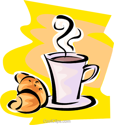 cup of coffee and a croissant Royalty Free Vector Clip Art illustration vc062806