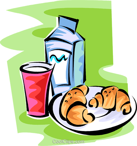 milk glass and two croissants on a plate Royalty Free Vector Clip Art illustration vc062808