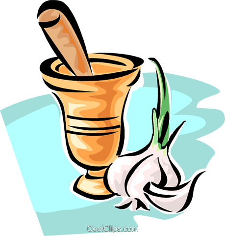 mortar and pestle with garlic Royalty Free Vector Clip Art illustration vc062809