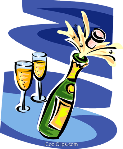 champagne bottle and glasses Royalty Free Vector Clip Art illustration vc062811