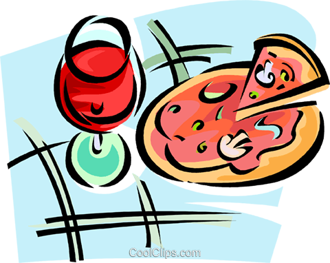 glass of red wine and a pizza Royalty Free Vector Clip Art illustration vc062813