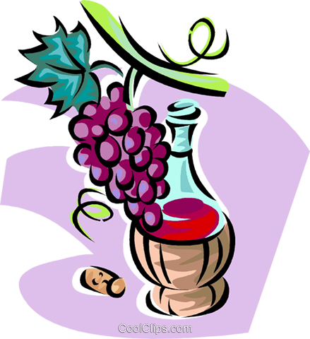 red wine and grapes Royalty Free Vector Clip Art illustration vc062814