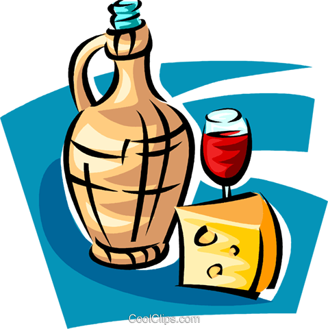 bottle of red wine and cheese Royalty Free Vector Clip Art illustration vc062815