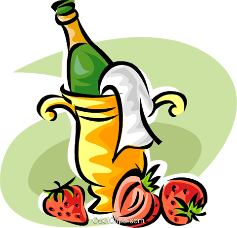 Strawberries and champagne Royalty Free Vector Clip Art illustration vc062818
