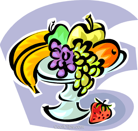 various fruits on a platter Royalty Free Vector Clip Art illustration vc062823