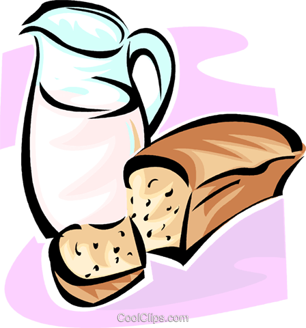 jug of milk and bread Royalty Free Vector Clip Art illustration vc062824