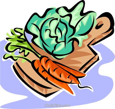 vegetables on a cutting board Royalty Free Vector Clip Art illustration vc062825