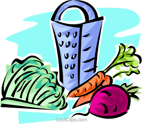carrots, beets, lettuce and a grater Royalty Free Vector Clip Art illustration vc062836