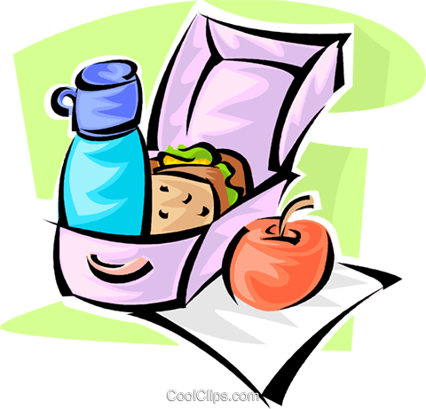 lunch, thermos and an apple Royalty Free Vector Clip Art illustration vc062844