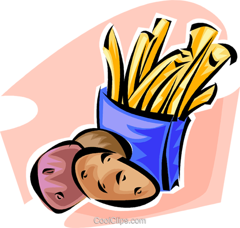 potatoes and French fries Royalty Free Vector Clip Art illustration vc062846