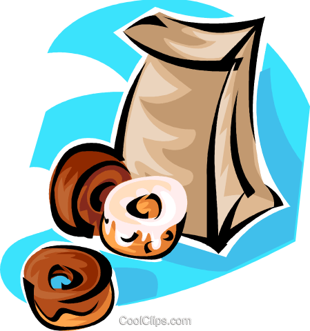 bag of donuts Royalty Free Vector Clip Art illustration vc062847