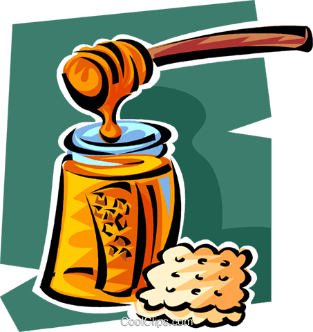 honey and a cracker Royalty Free Vector Clip Art illustration vc062851