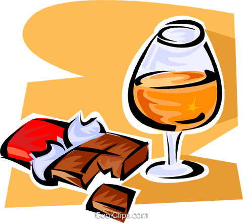 cognac and chocolate Royalty Free Vector Clip Art illustration vc062856