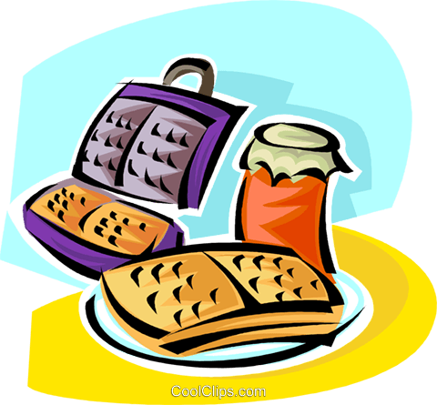 waffles and a waffle iron Royalty Free Vector Clip Art illustration vc062865