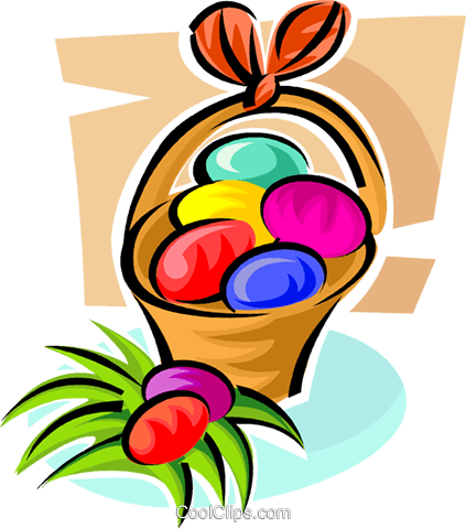 Easter eggs in a basket Royalty Free Vector Clip Art illustration vc062880