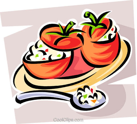 stuffed tomatoes Royalty Free Vector Clip Art illustration vc062889