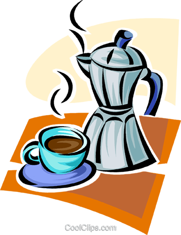 coffee cup and coffee maker Royalty Free Vector Clip Art illustration vc062900