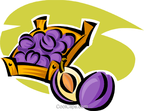 basket of plums Royalty Free Vector Clip Art illustration vc062901