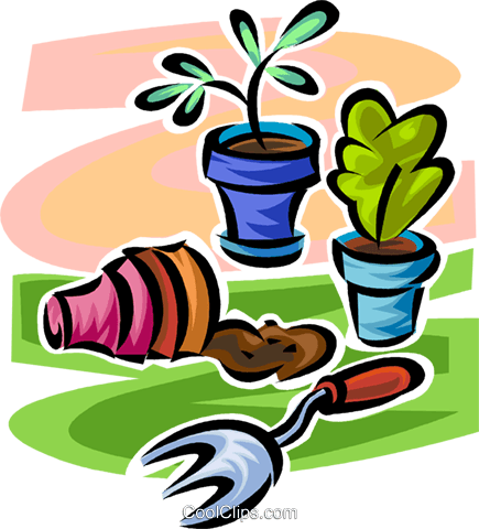 potted plants Royalty Free Vector Clip Art illustration vc062906