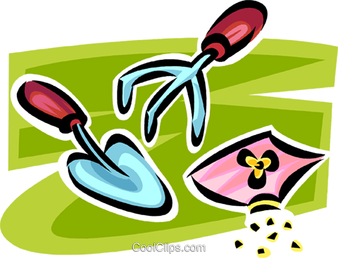 garden trowel and spade Royalty Free Vector Clip Art illustration vc062907