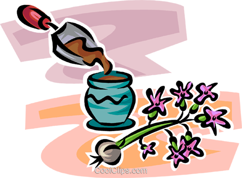 planting a flower in a pot Royalty Free Vector Clip Art illustration vc062917
