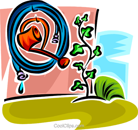 watering can and garden hose Royalty Free Vector Clip Art illustration vc062930