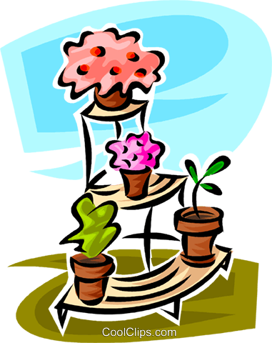 potted plants on a plant stand Royalty Free Vector Clip Art illustration vc062953