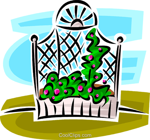 garden trellis Royalty Free Vector Clip Art illustration vc062959