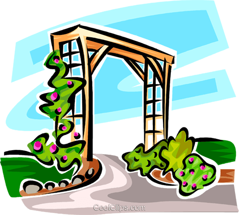 garden trellis Royalty Free Vector Clip Art illustration vc062960