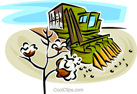 cotton picking machine Royalty Free Vector Clip Art illustration vc062969