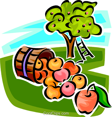 Basket of apples and an apple tree Royalty Free Vector Clip Art illustration vc062976