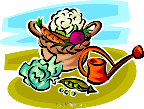basket of vegetables Royalty Free Vector Clip Art illustration vc062982