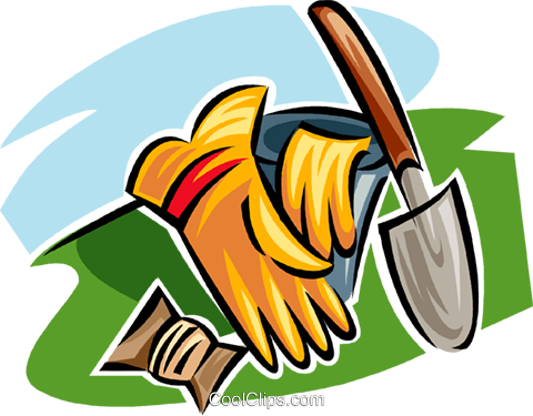 gardening gloves and gardening spade Royalty Free Vector Clip Art illustration vc062987