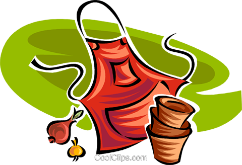 gardening apron and pots Royalty Free Vector Clip Art illustration vc062992