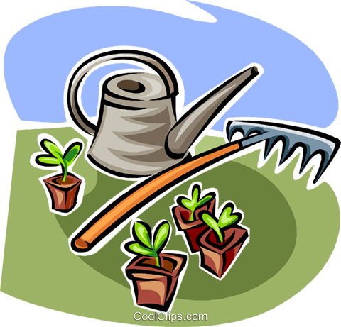 watering can, garden rake and seedlings Royalty Free Vector Clip Art illustration vc062997