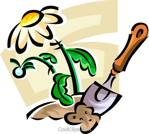 flower and a garden trowel Royalty Free Vector Clip Art illustration vc063000