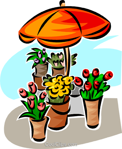 Flowers under an umbrella Royalty Free Vector Clip Art illustration vc063006