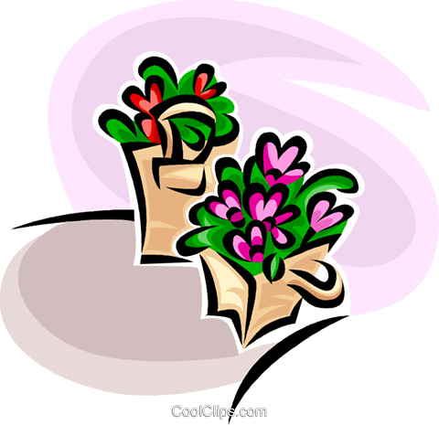 flowers in planters Royalty Free Vector Clip Art illustration vc063007
