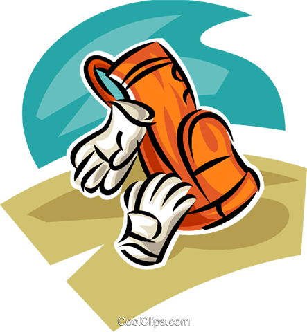 golf bag and golf gloves Royalty Free Vector Clip Art illustration vc063011