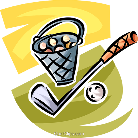 golf club and bucket of balls Royalty Free Vector Clip Art illustration vc063016