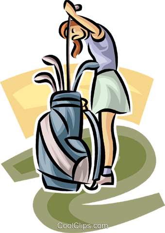 female golfer selecting a club Royalty Free Vector Clip Art illustration vc063020