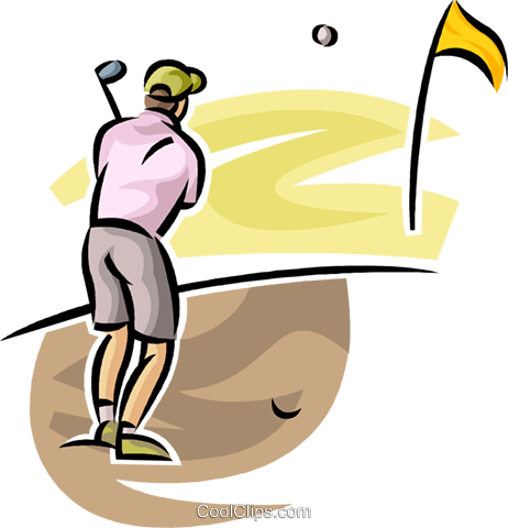 golfer playing the ball out of the sand Royalty Free Vector Clip Art illustration vc063021