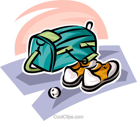 golf bag and shoes Royalty Free Vector Clip Art illustration vc063022