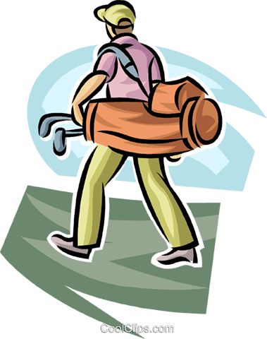 Golfer carrying his bag Royalty Free Vector Clip Art illustration vc063023