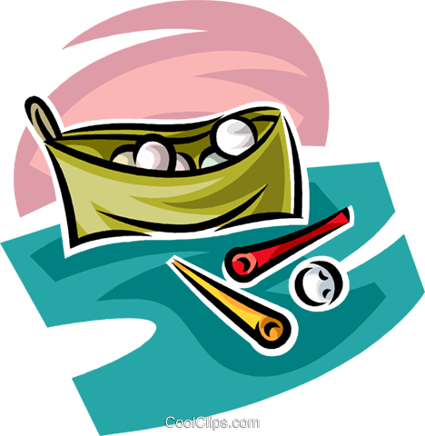bag of golf balls and tees Royalty Free Vector Clip Art illustration vc063025